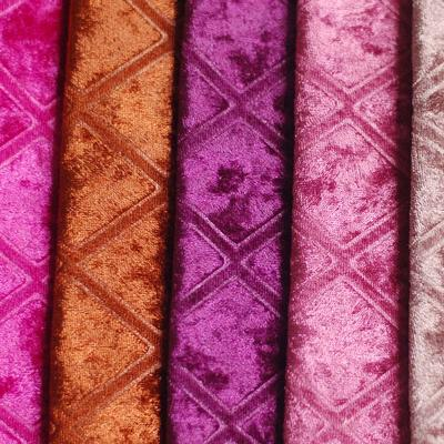 Polyester embossed Fabric velvet for Sofa and Home Textile